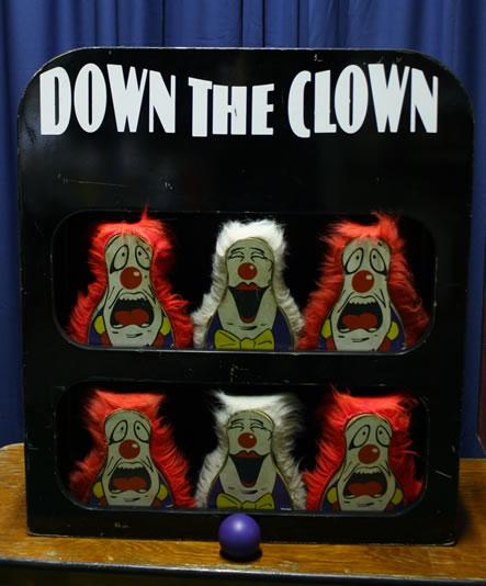 Down the clowns bean bag toss